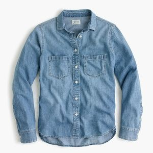 Blue Chambray J. Crew Button-Front Shirt (NWT)